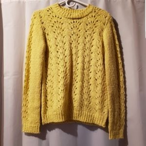 Chelsea and Theodore yellow open knit sweater nwt
